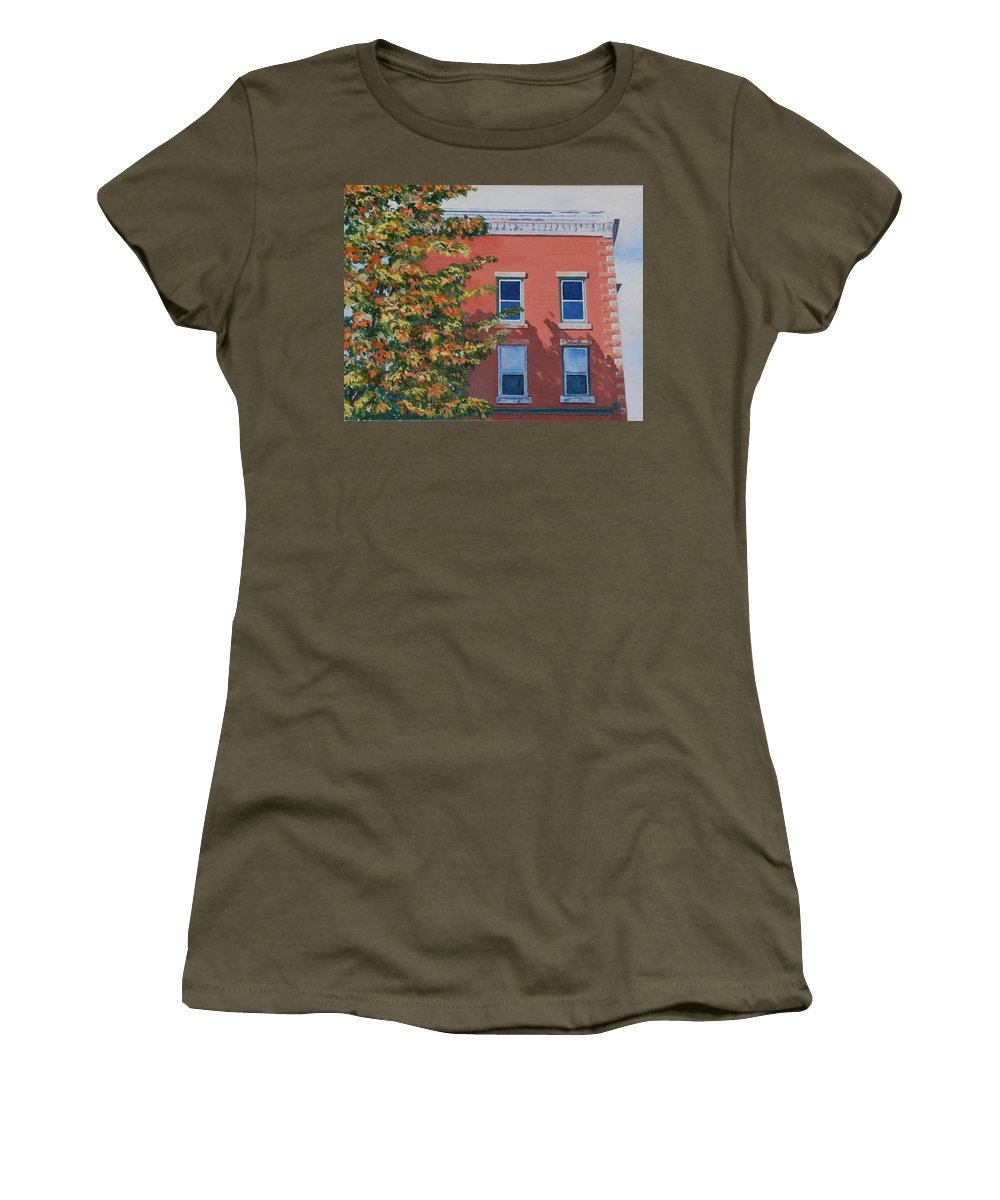 Acrylic Women's T-Shirt (Athletic Fit) featuring the painting A Brick In Time by Lynne Reichhart