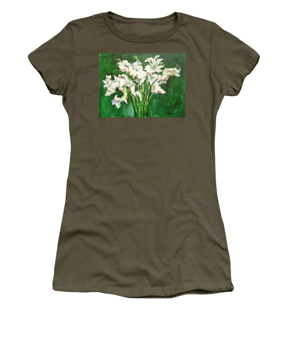 Bunch Women's T-Shirt featuring the painting A Bunch Of White Gladioli by Usha Shantharam