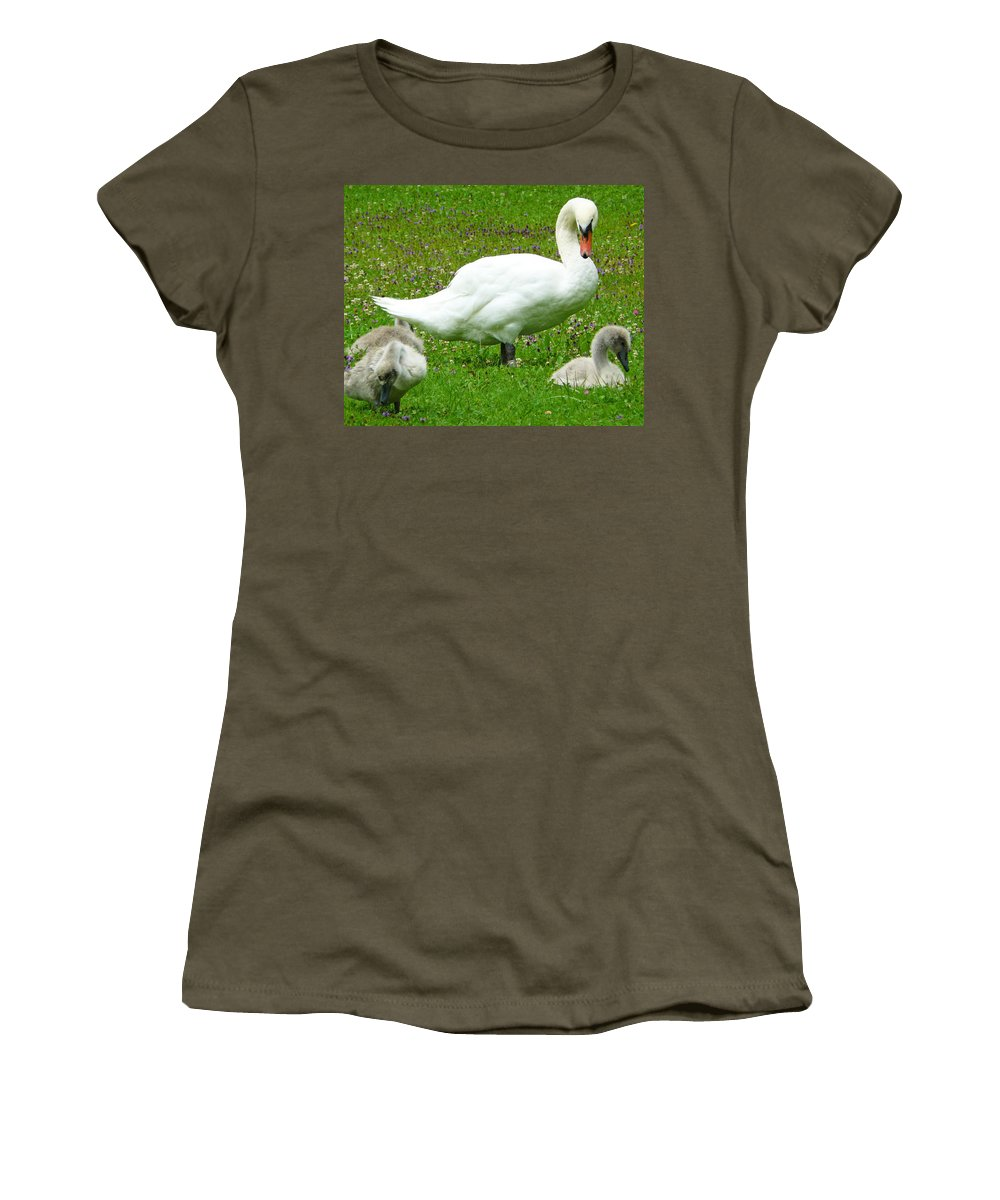 Caring Women's T-Shirt featuring the photograph A Caring Mother by Daniel Csoka