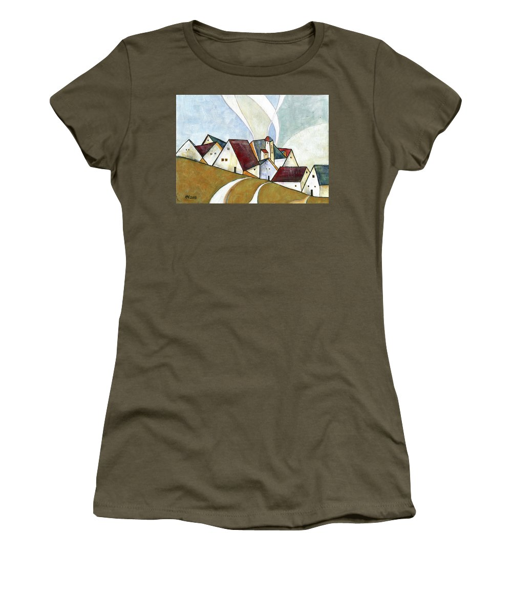 Original Art Women's T-Shirt (Athletic Fit) featuring the painting  A Cold Day by Aniko Hencz