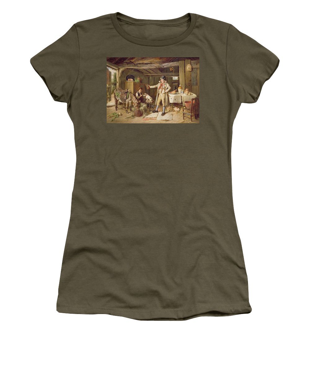 Vanity; Mirror; Walking Stick; Button Hole; Pigs; Pony; Interior; Cottage; Dog; Boy; Bacon; Ham; Pok; Turnip; Hay; Clock; Rustic; Pipe; Indoor; Donkey Women's T-Shirt featuring the painting A Fine Attire by Charles Hunt