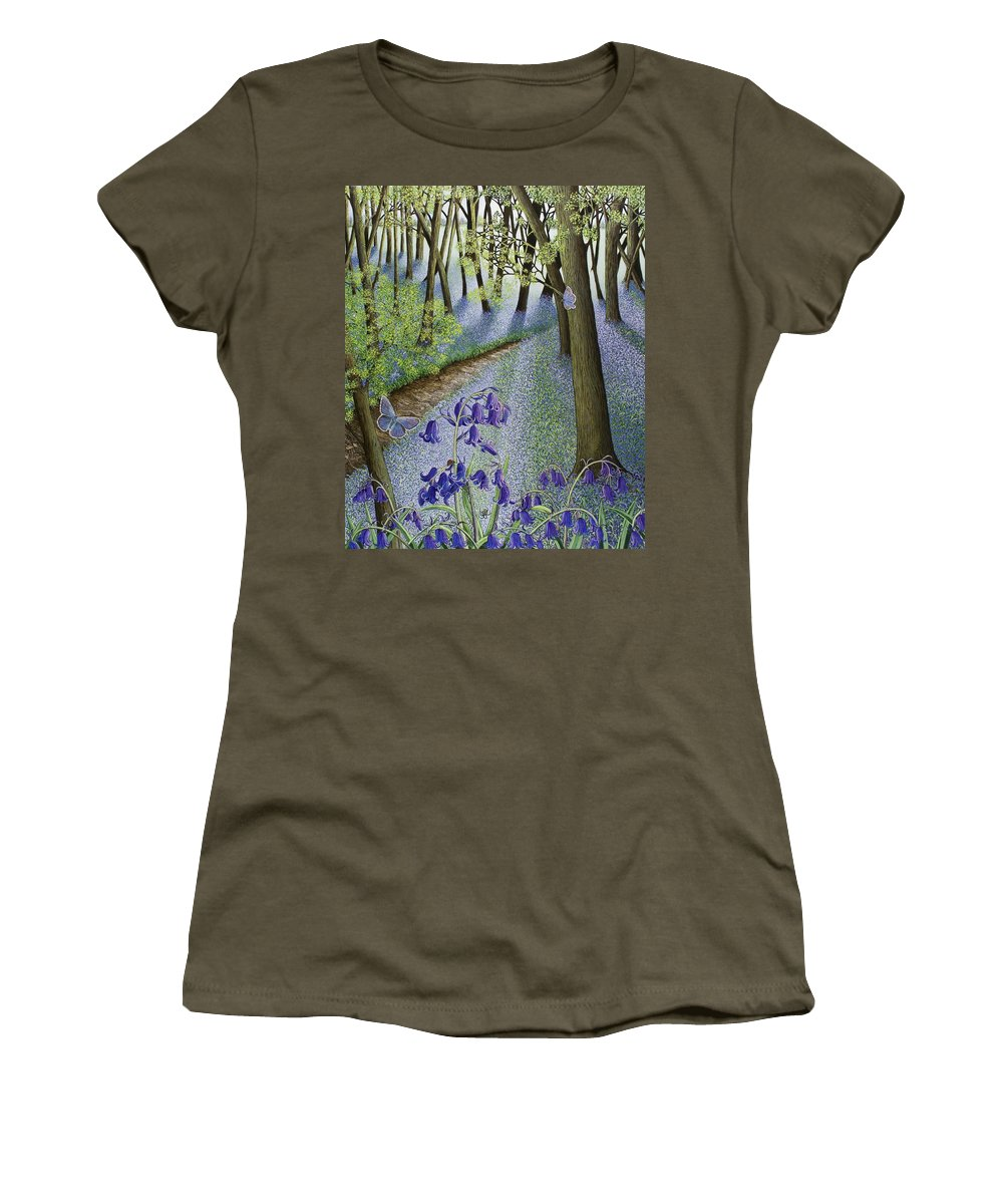 Woods; Flowers; Bluebells; Bluebell; Flower; Tree; Trees Women's T-Shirt featuring the painting A Fresh Start by Pat Scott