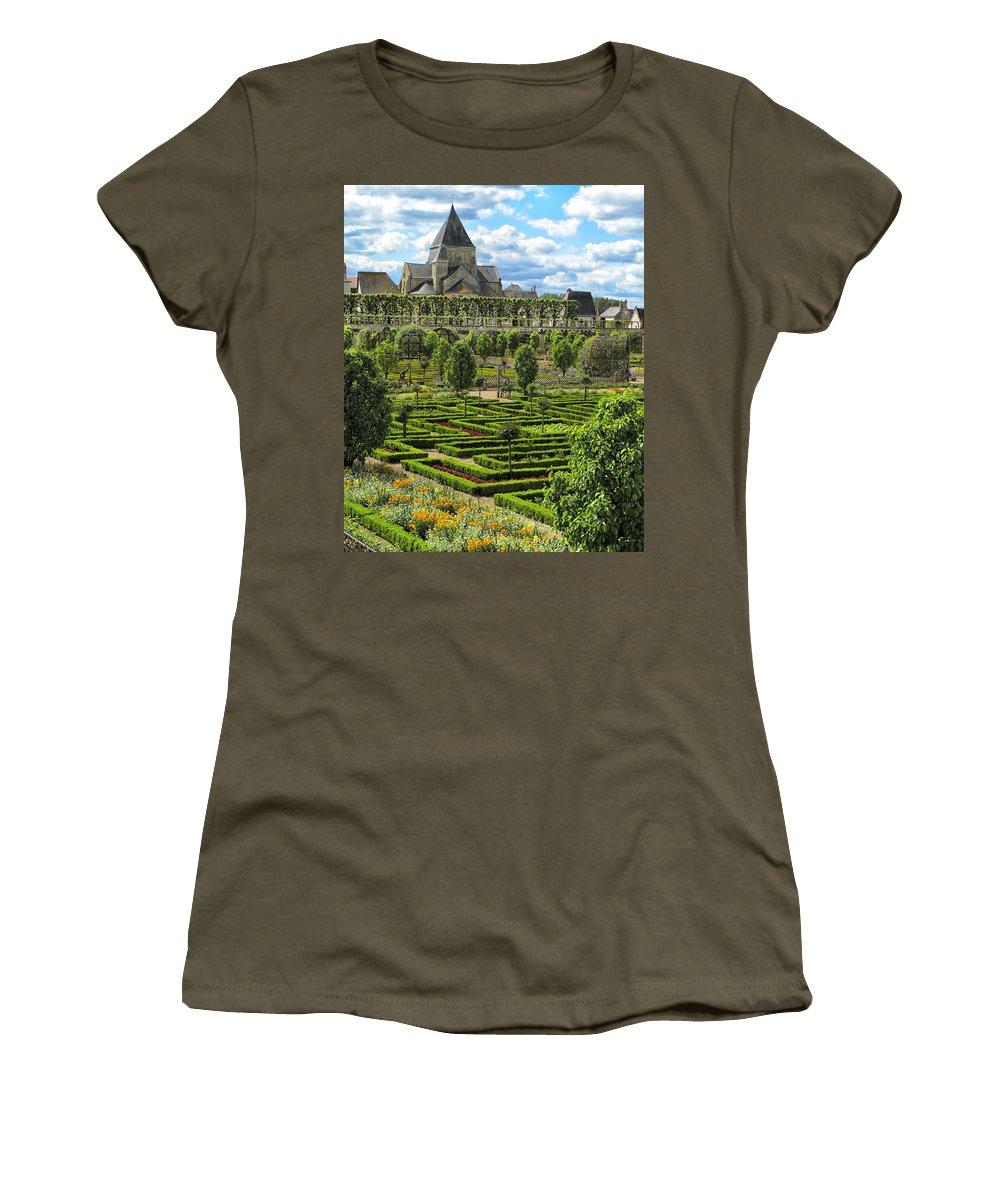 Chateau De Villandry Women's T-Shirt featuring the photograph A Garden View At Chateau De Villandry by Dave Mills