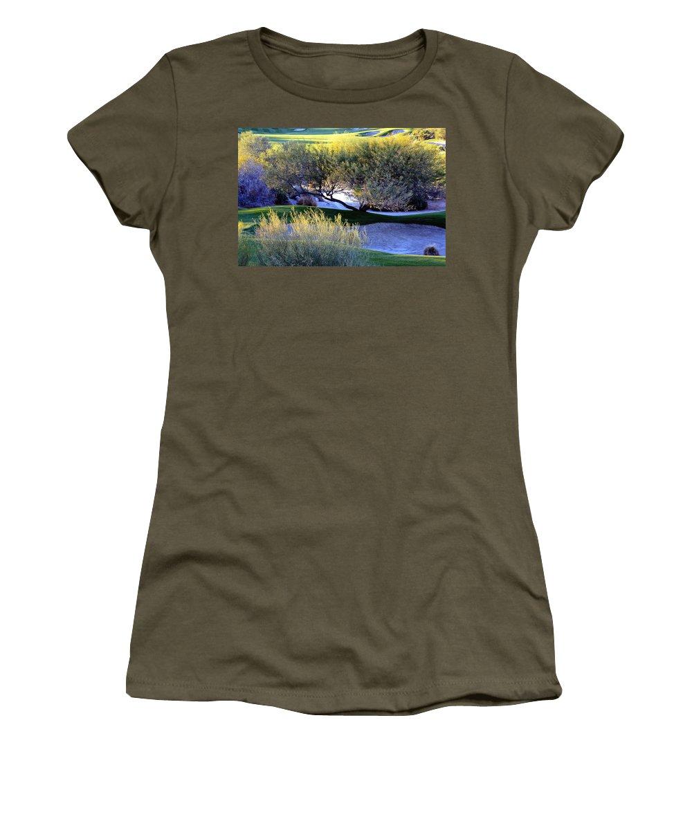 Desert Willow Golf Course Women's T-Shirt featuring the photograph A Good Walk Spoiled by Linda Dunn