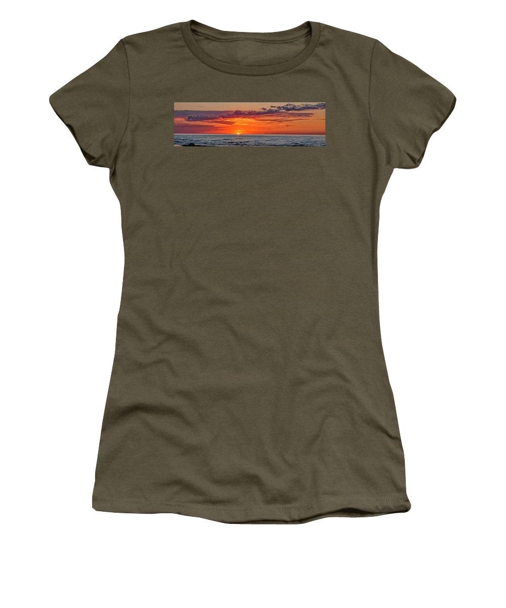 Sun Set Women's T-Shirt featuring the photograph A Lake Sunset by Brian Mollenkopf