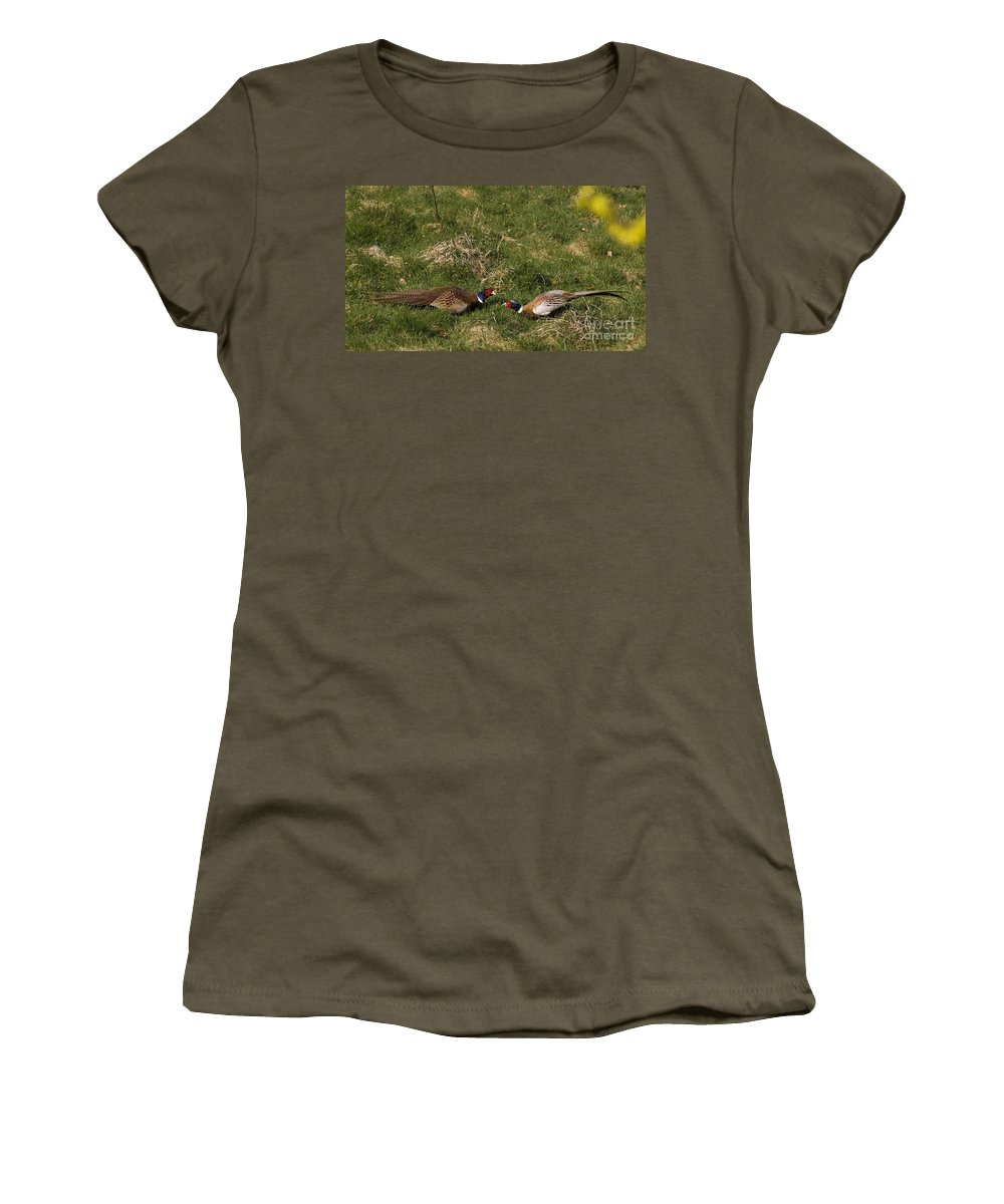 Pheasant Women's T-Shirt (Athletic Fit) featuring the photograph A Little Argue by Angel Ciesniarska