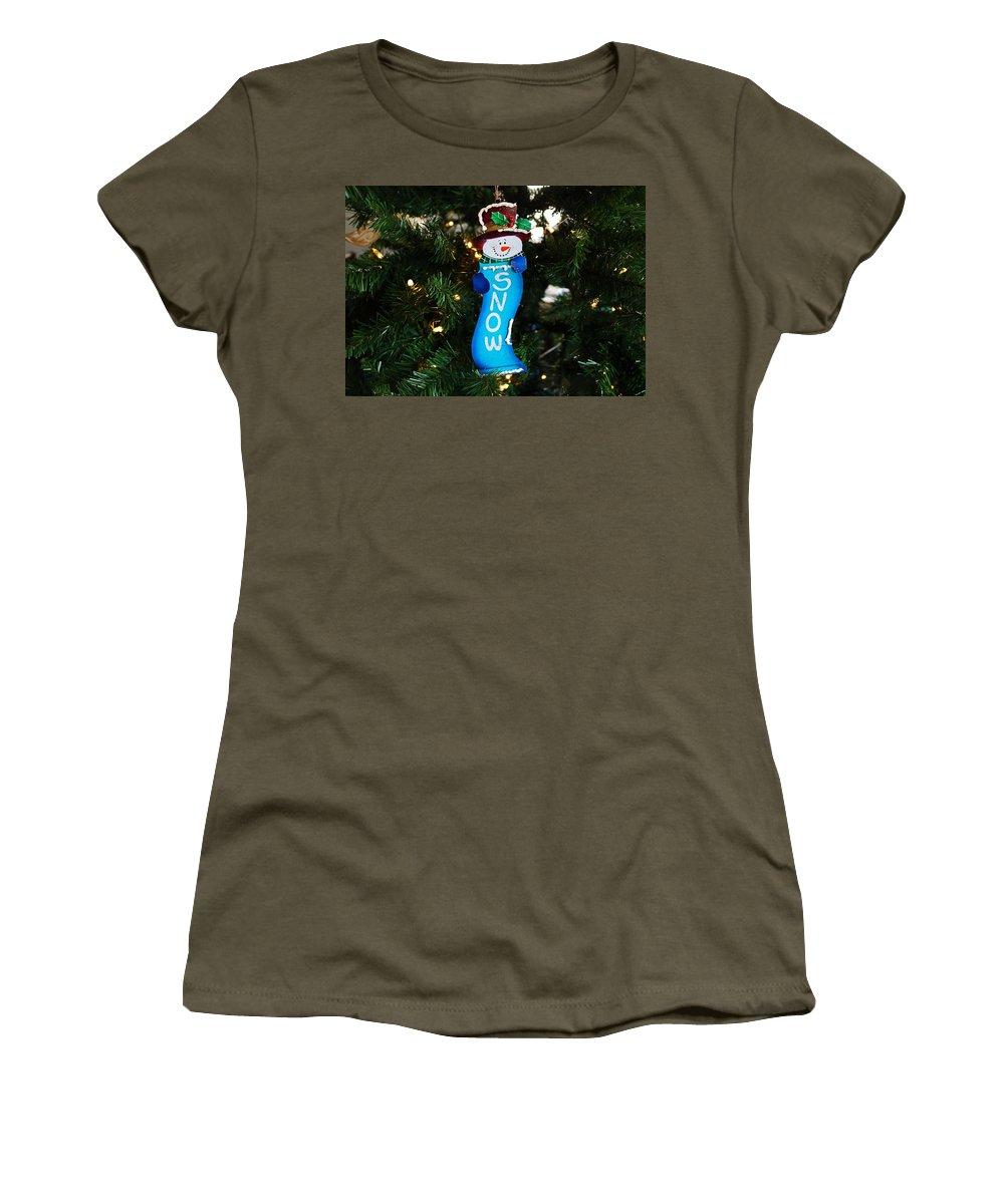 Snowman Women's T-Shirt featuring the photograph A Long Snow Ornament- Horizontal by Michiale Schneider