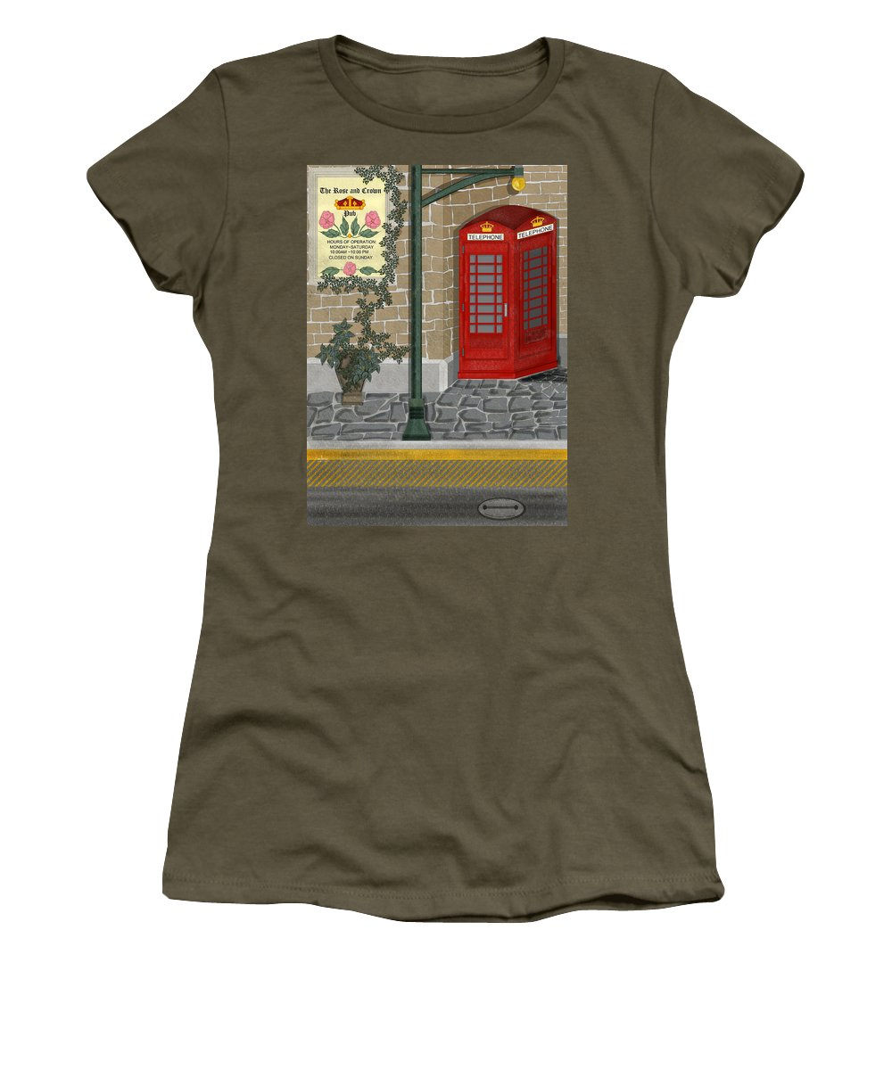 Cityscape Women's T-Shirt (Athletic Fit) featuring the painting A Merry Old Corner In London by Anne Norskog