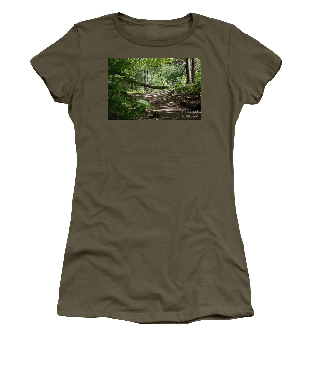 Landscape Women's T-Shirt (Athletic Fit) featuring the photograph A Path In The Woods by David Lane