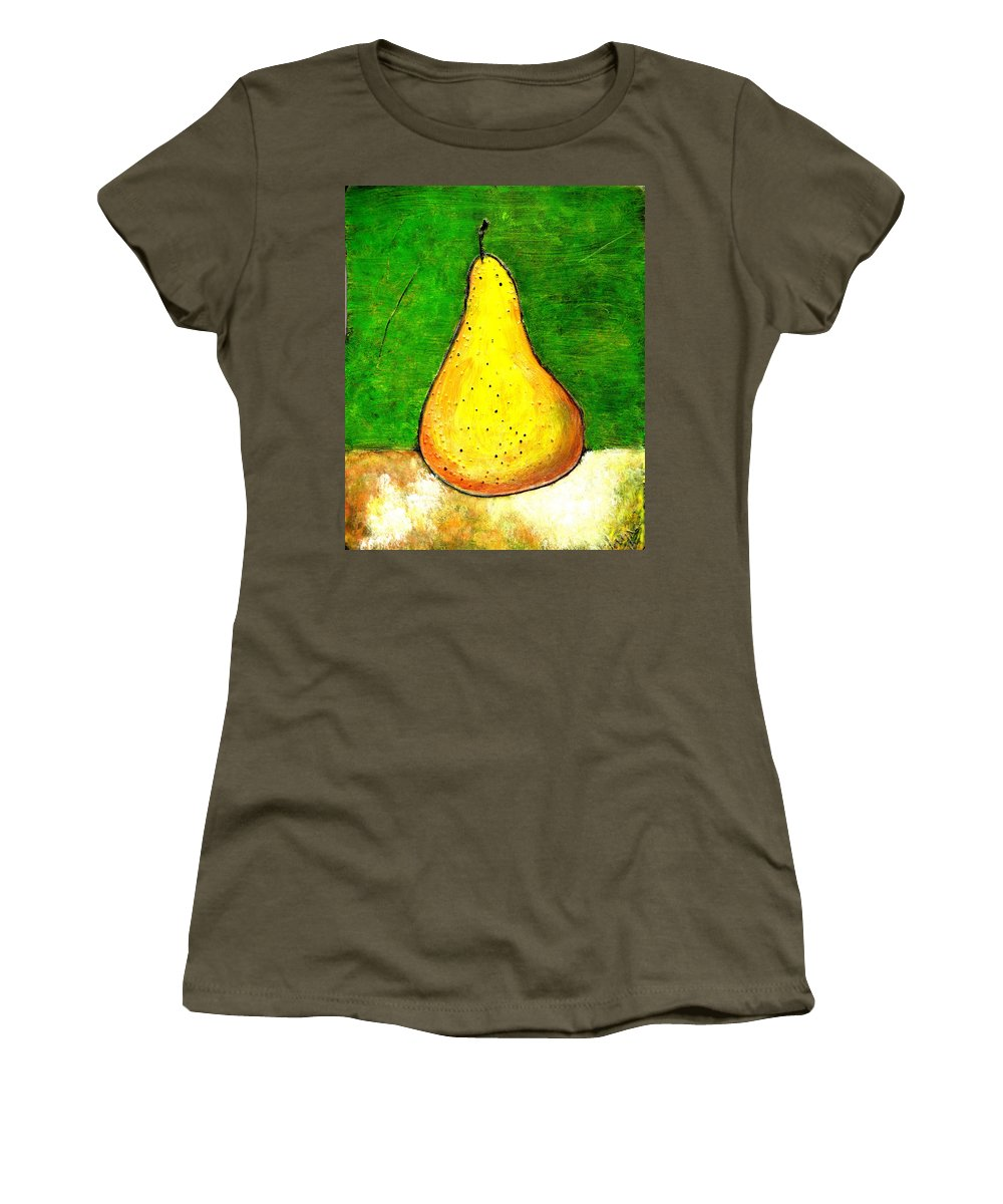 Pears Women's T-Shirt (Athletic Fit) featuring the painting A Pear 2 by Wayne Potrafka