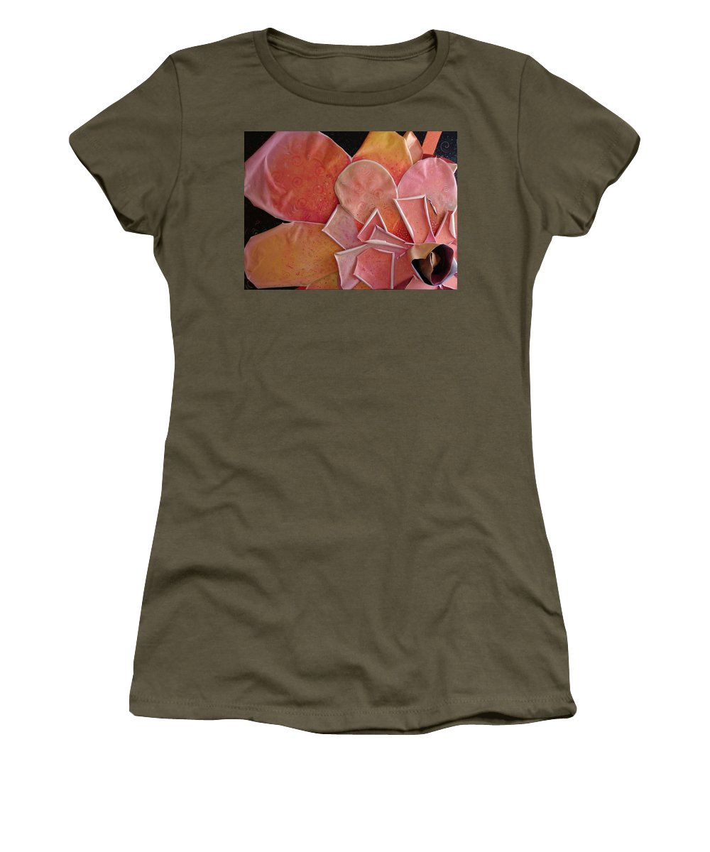 Sculptural Women's T-Shirt featuring the painting A Pink Experience by Helena Tiainen