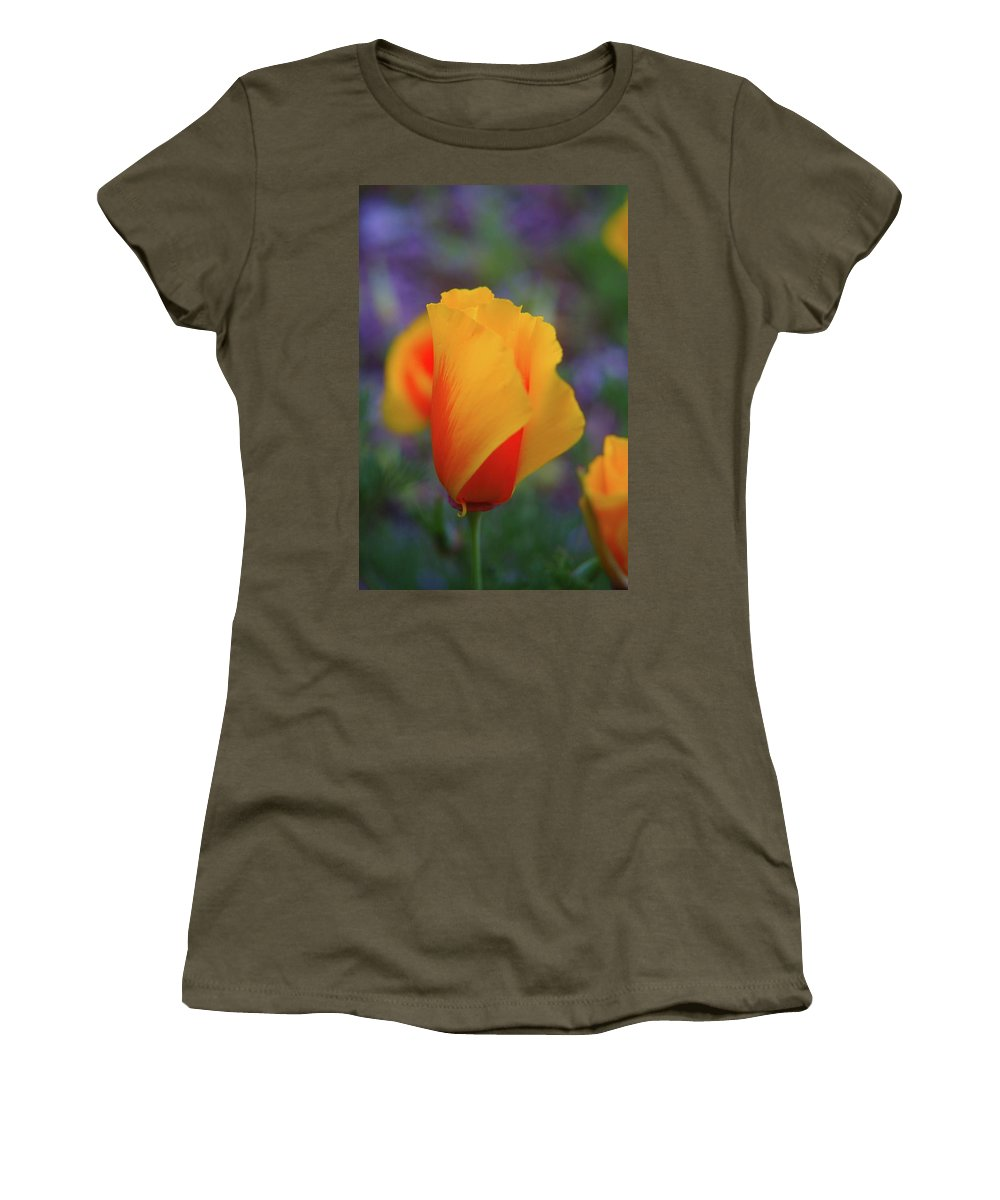 Poppies Women's T-Shirt (Athletic Fit) featuring the photograph A Poppy Furled by Jeff Swan