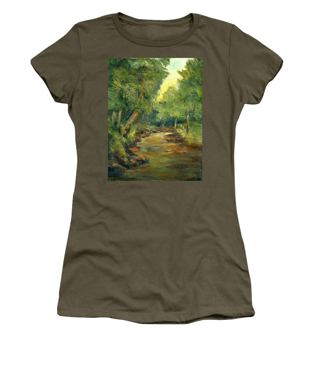 Creek Women's T-Shirt (Athletic Fit) featuring the painting A Quiet Place by Gail Kirtz
