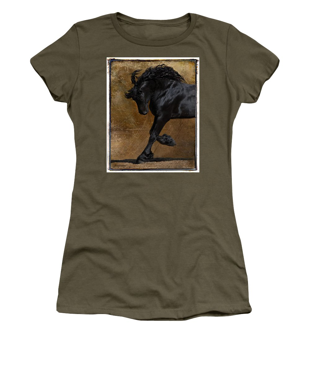 Horse Women's T-Shirt (Athletic Fit) featuring the photograph A Regal Bow by Jean Hildebrant