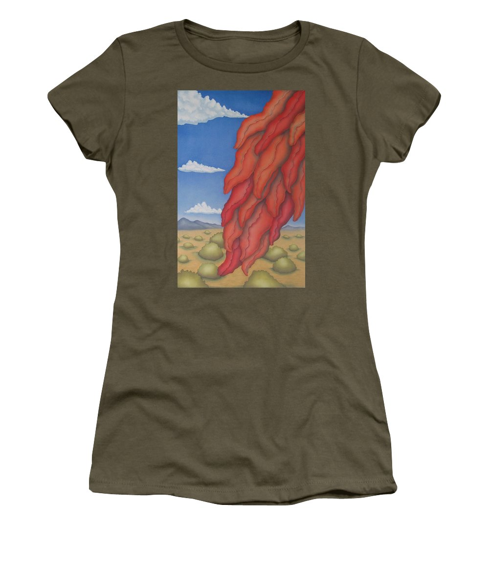 Southwest Women's T-Shirt featuring the painting A Ristra On A Breeze by Jeniffer Stapher-Thomas