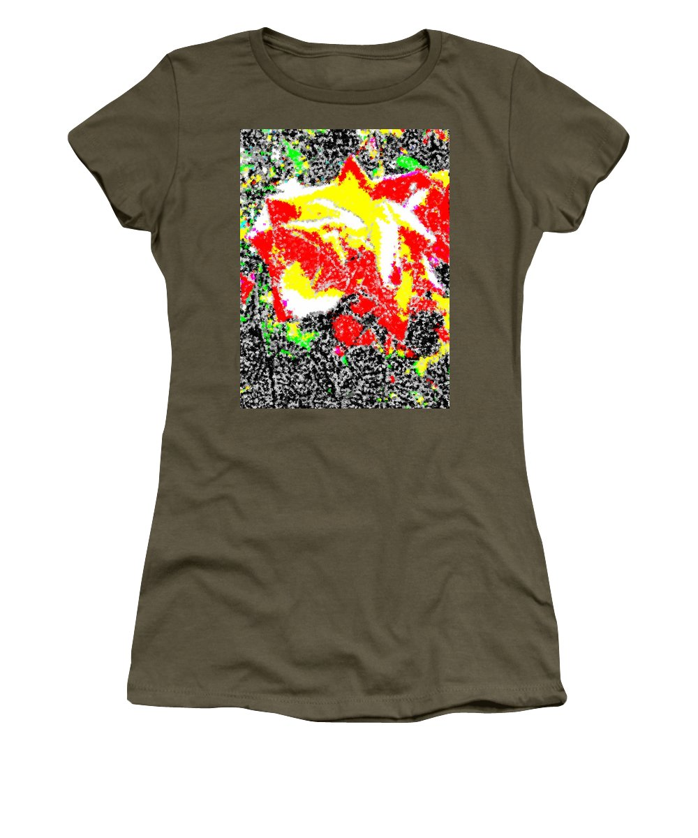 Rose Women's T-Shirt (Athletic Fit) featuring the digital art A Rose Is 2 by Tim Allen
