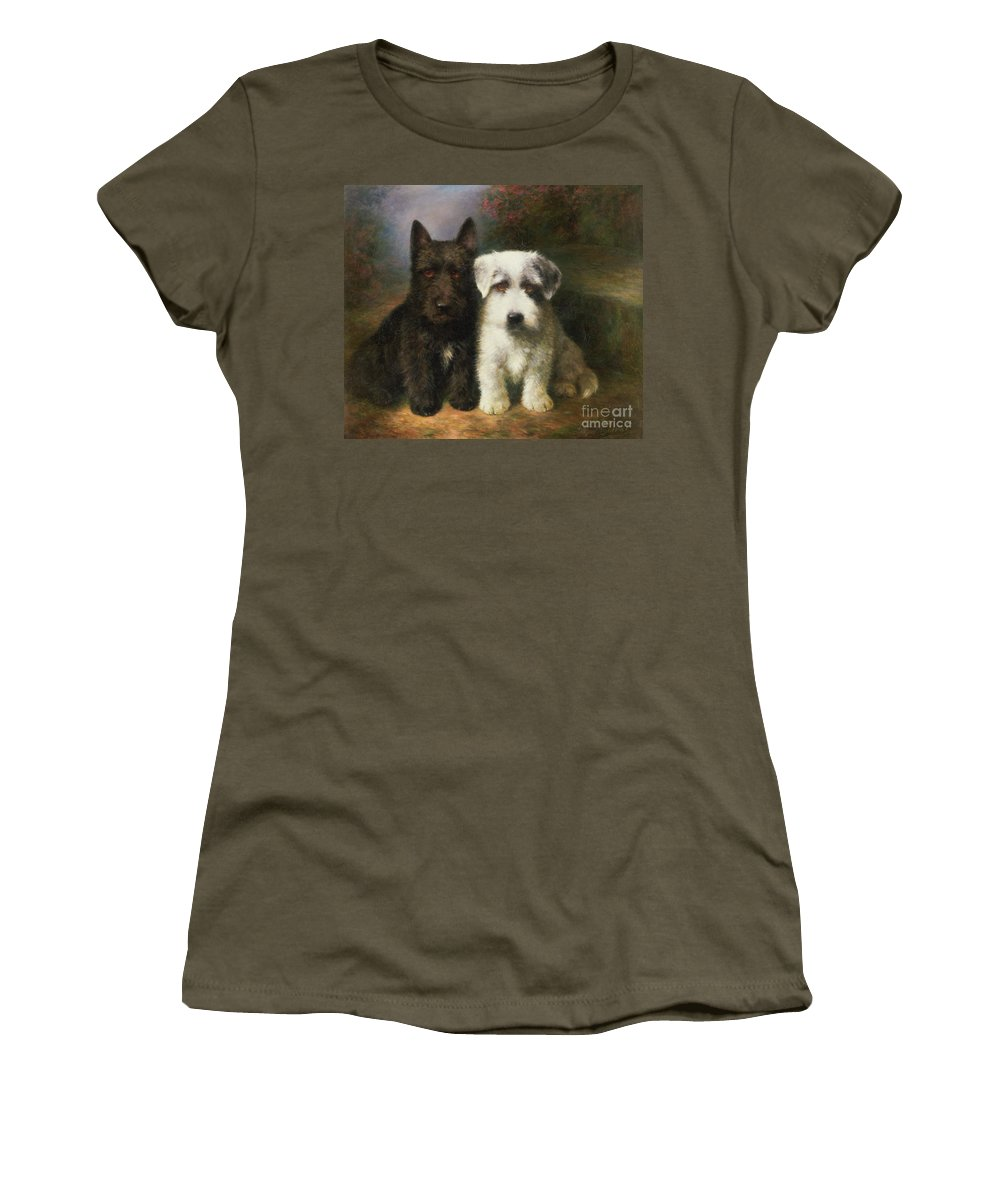 Dogs Women's T-Shirt featuring the painting A Scottish And A Sealyham Terrier by Lilian Cheviot