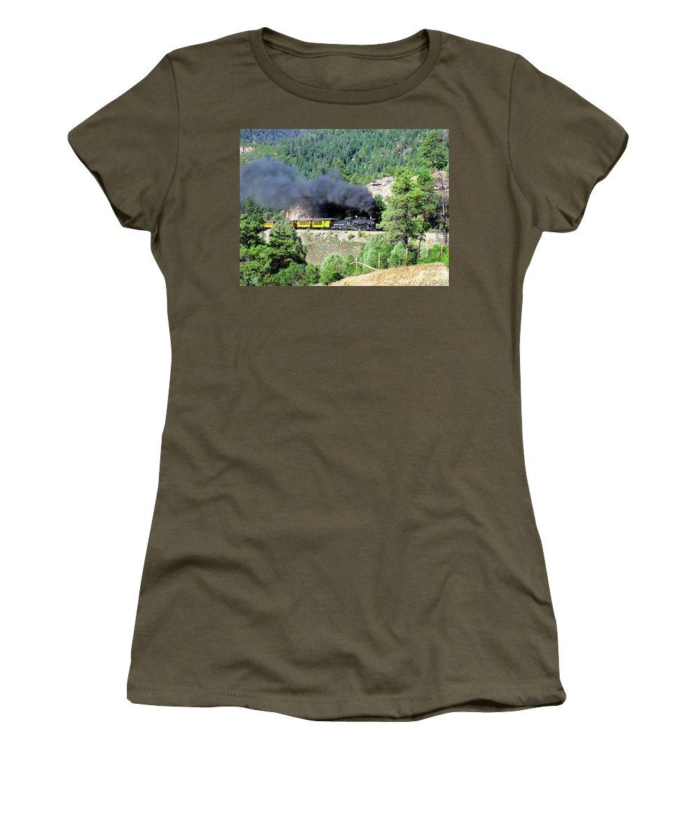 Steam Train Women's T-Shirt featuring the photograph A Slow Climb by Ken Smith