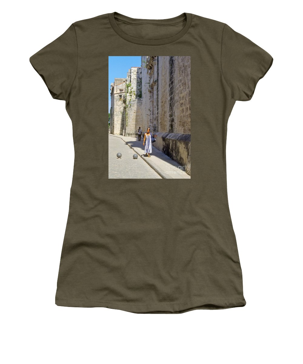 Havana Cuba City Cities Cityscape Cityscapes Woman Street Streets Women Person Persons People Creature Creature Cobblestone Cobblestones Women's T-Shirt featuring the photograph A Stroll By The Cathedral by Bob Phillips