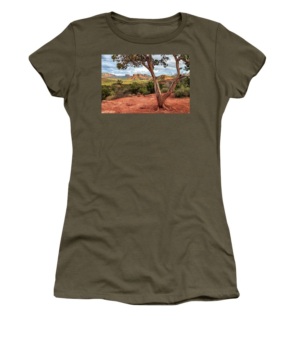 Sedona Women's T-Shirt featuring the photograph A Tree In Sedona by James Eddy