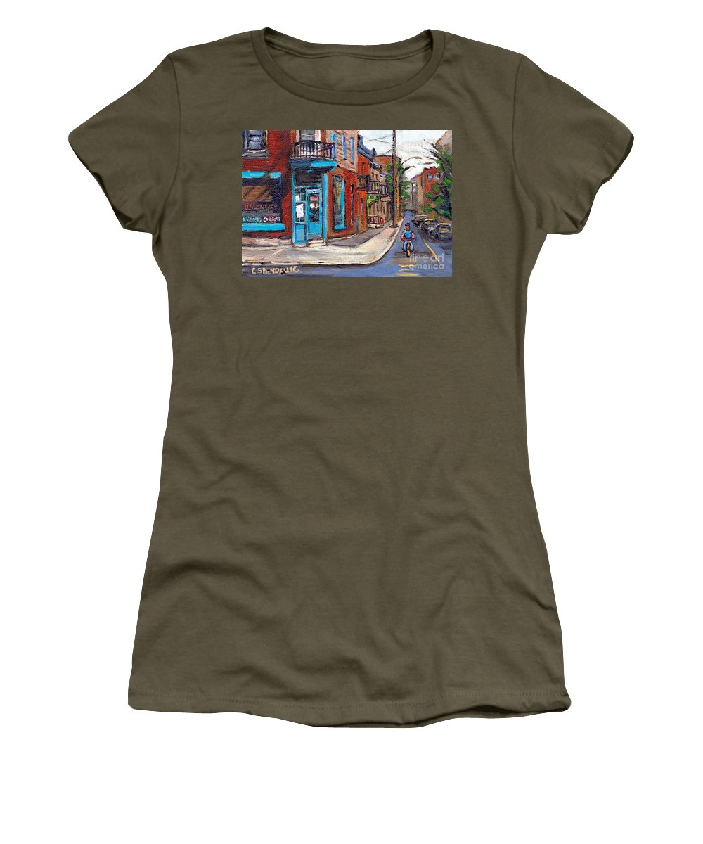 Wilensky's Diner Women's T-Shirt featuring the painting A Vendre Petits Formats L'art De Montreal Originals For Sale Wilensky's Diner Best Montreal Scenes by Carole Spandau