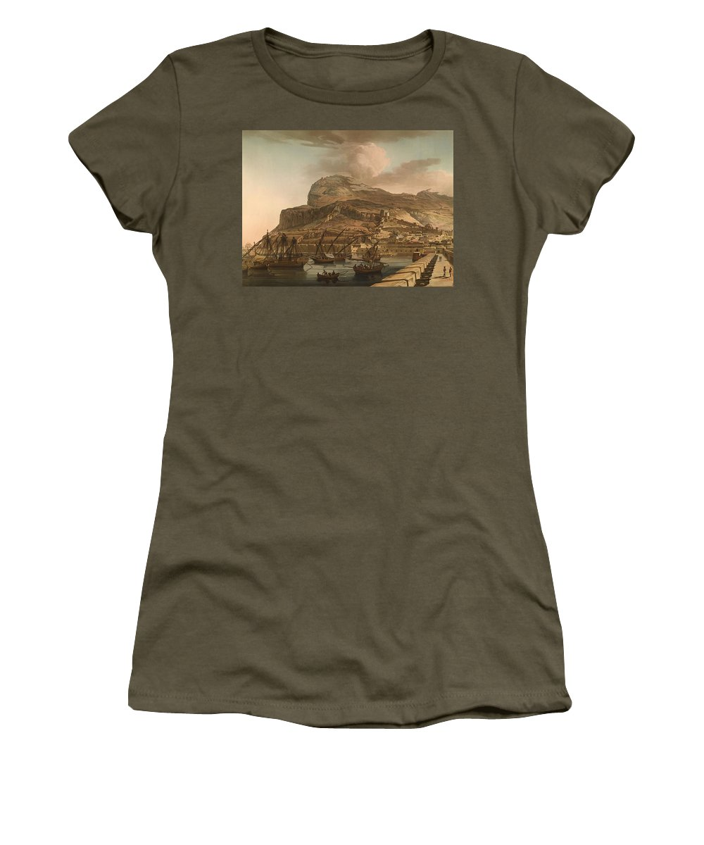 Painting Women's T-Shirt featuring the painting A View Of The Rock Of Gibraltar From The Spanish Lines 1782 by Mountain Dreams