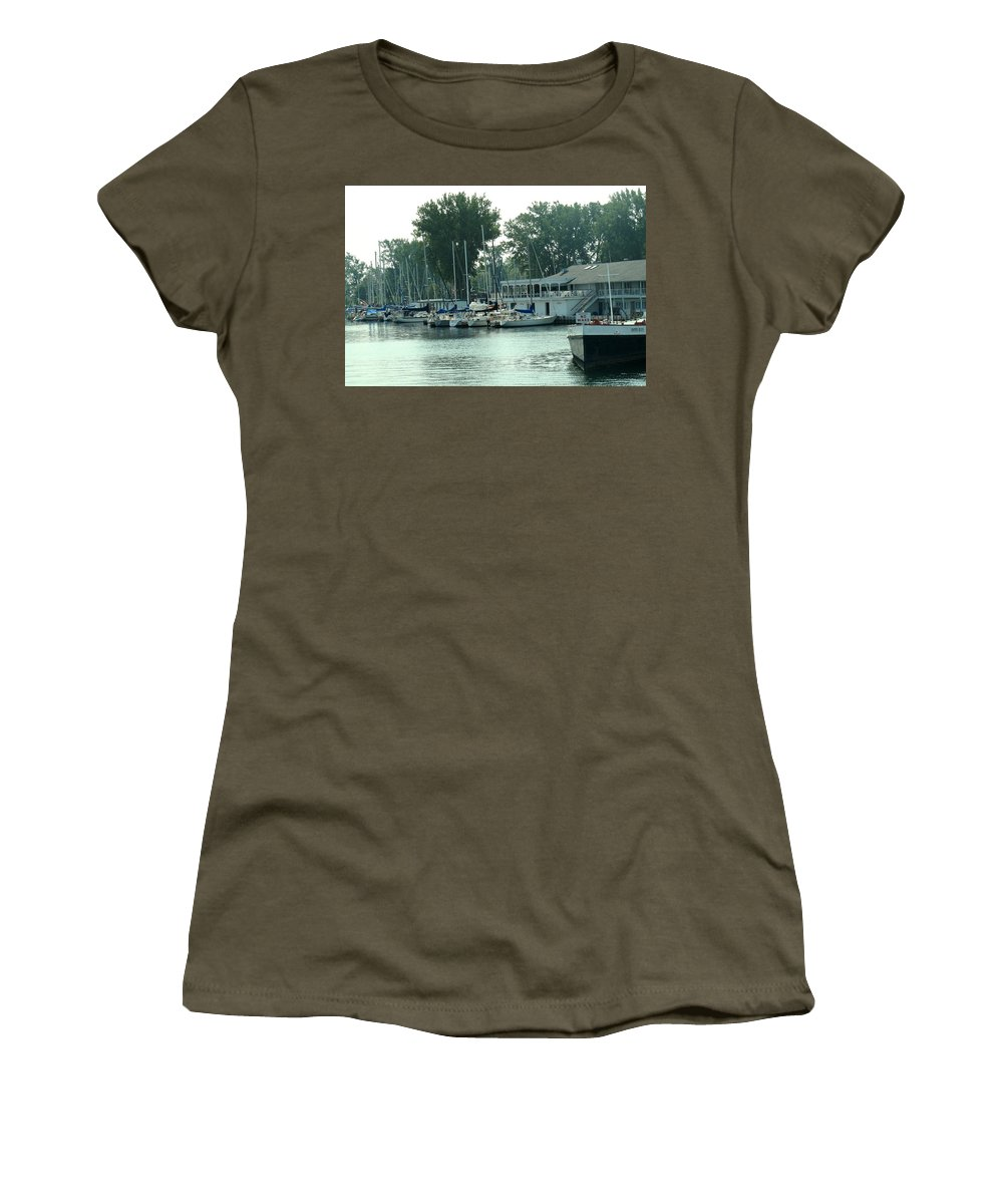 Toronto Women's T-Shirt (Athletic Fit) featuring the photograph A Yacht Club by Ian MacDonald