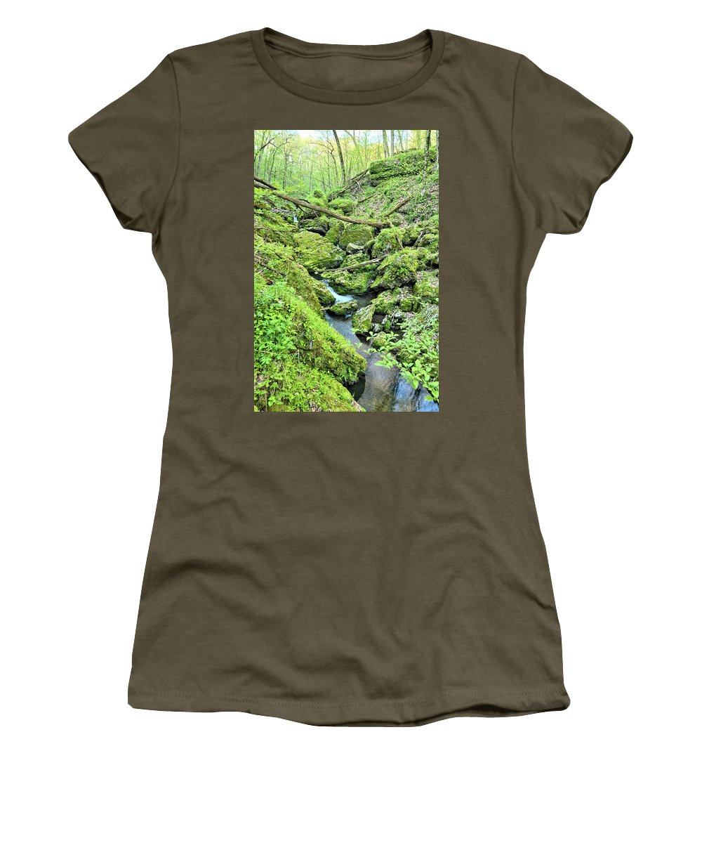 Mossy Women's T-Shirt (Athletic Fit) featuring the photograph Above Moine Creek 2 by Bonfire Photography