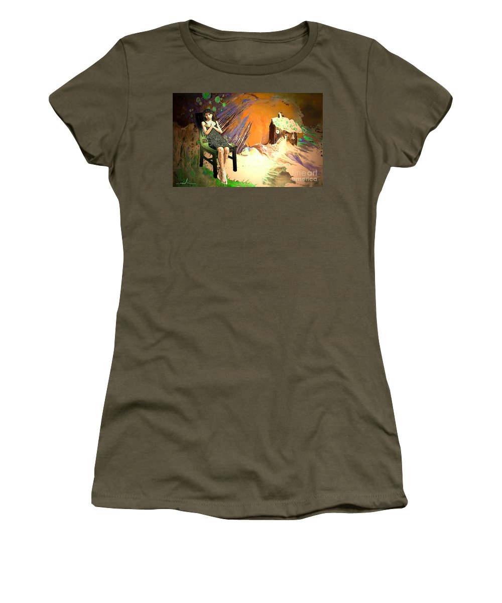 Absent Love Women's T-Shirt (Athletic Fit) featuring the painting Absent Love by Miki De Goodaboom