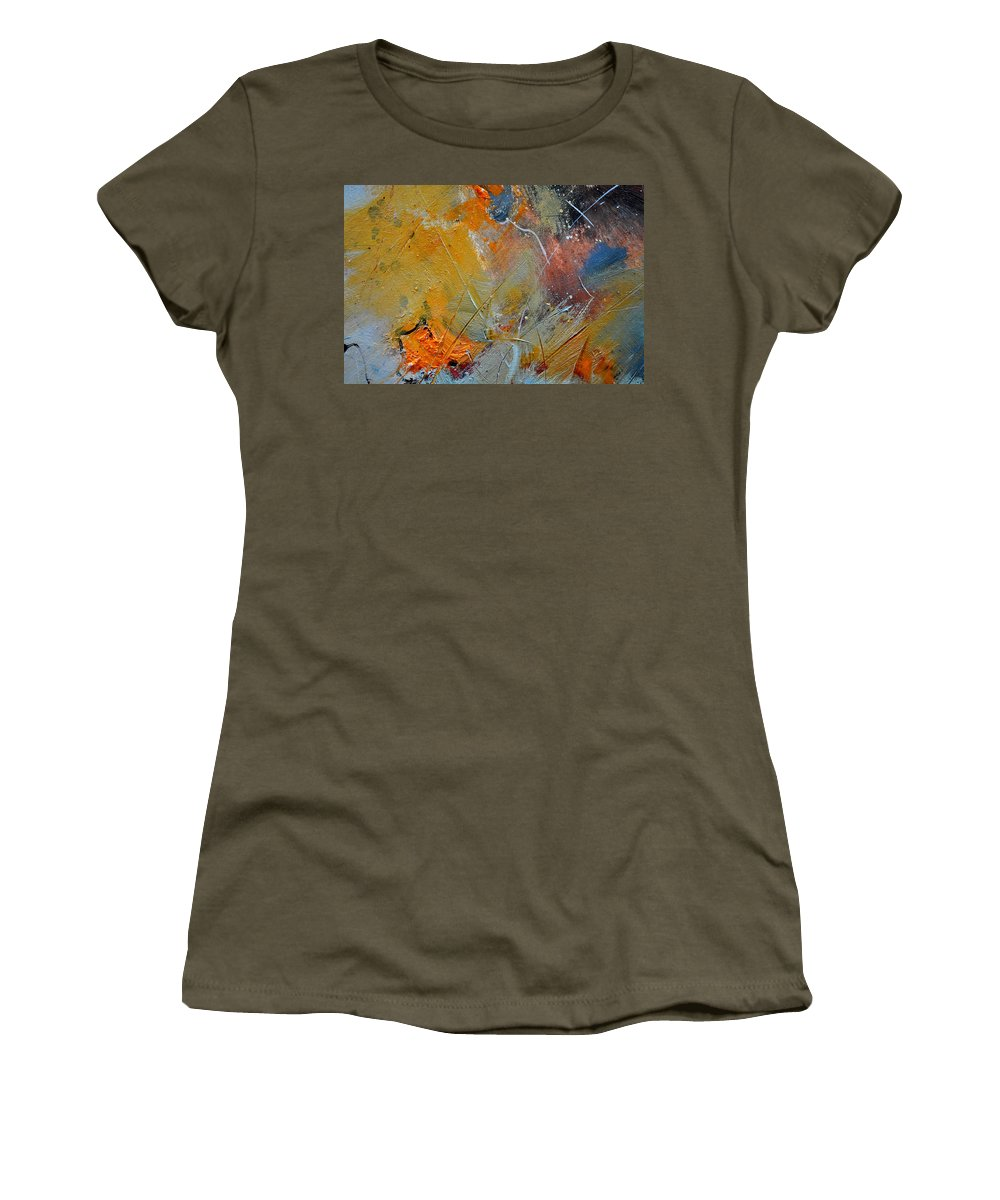 Abstract Women's T-Shirt (Athletic Fit) featuring the painting Abstract 015011 by Pol Ledent