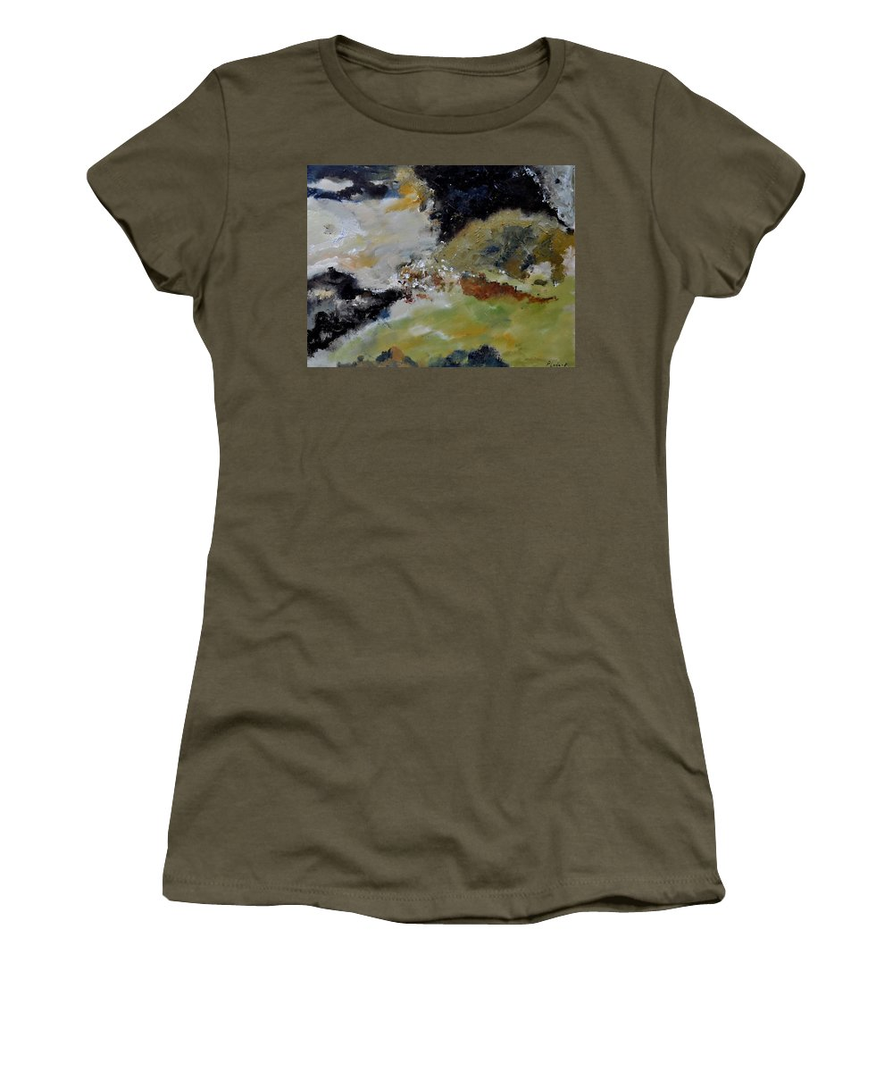 Abstract Women's T-Shirt (Athletic Fit) featuring the painting Abstract 790180 by Pol Ledent