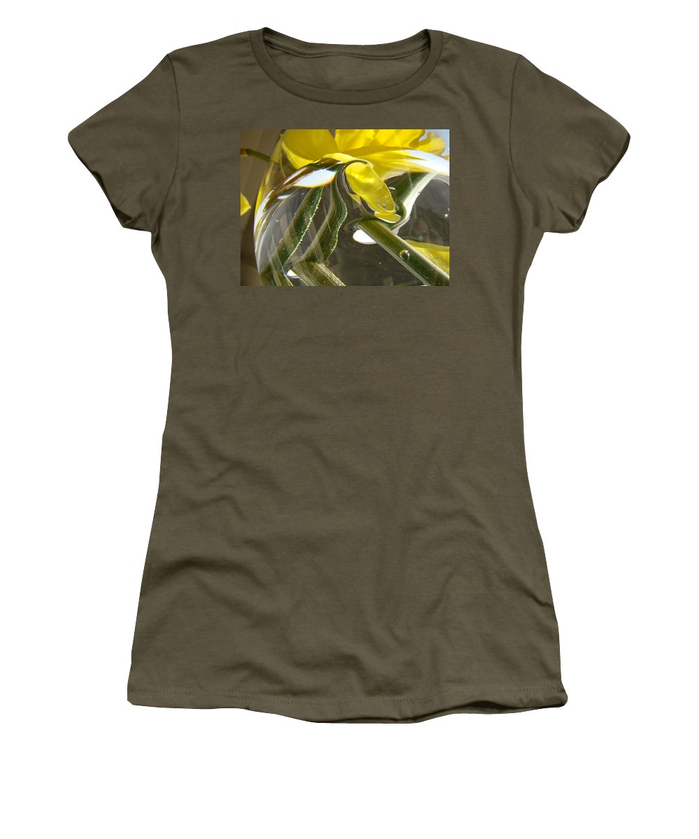 �daffodils Artwork� Women's T-Shirt (Athletic Fit) featuring the photograph Abstract Artwork Daffodils Flowers 1 Natural Abstract Art Prints Glass Vase Water Art Light Air by Baslee Troutman