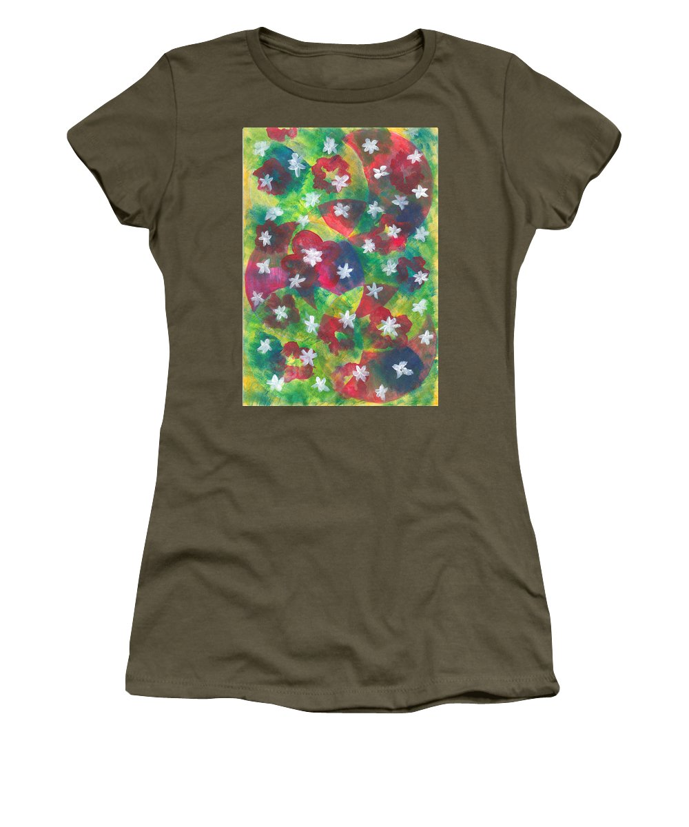 Abstract Women's T-Shirt featuring the painting Abstract Circles With Flowers by Masuma Pardiwala