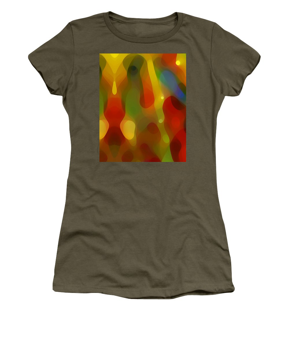 Abstract Art Women's T-Shirt featuring the painting Abstract Flowing Light by Amy Vangsgard