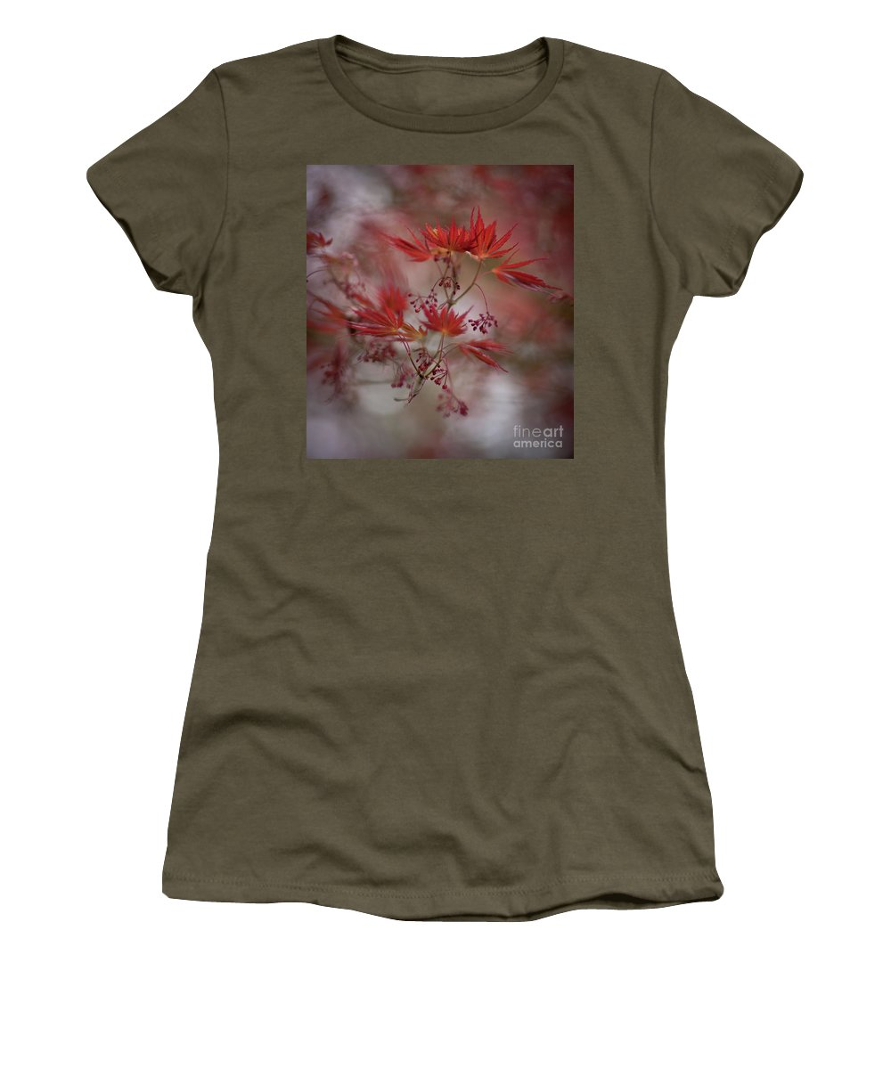 Japanese Red Maples Women's T-Shirt featuring the photograph Acer Storm Redux by Mike Reid