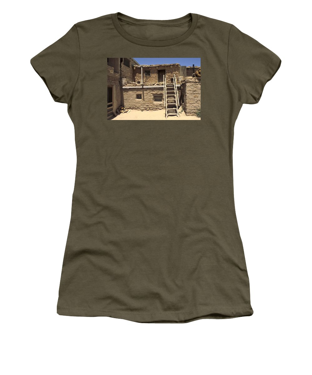 Acoma Women's T-Shirt (Athletic Fit) featuring the photograph Acoma Pueblo by Jerry McElroy