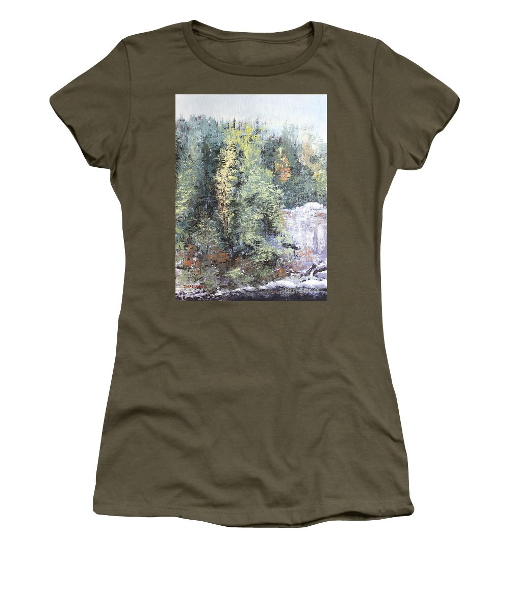Landscape Women's T-Shirt featuring the painting Across The Ravine by Todd Blanchard