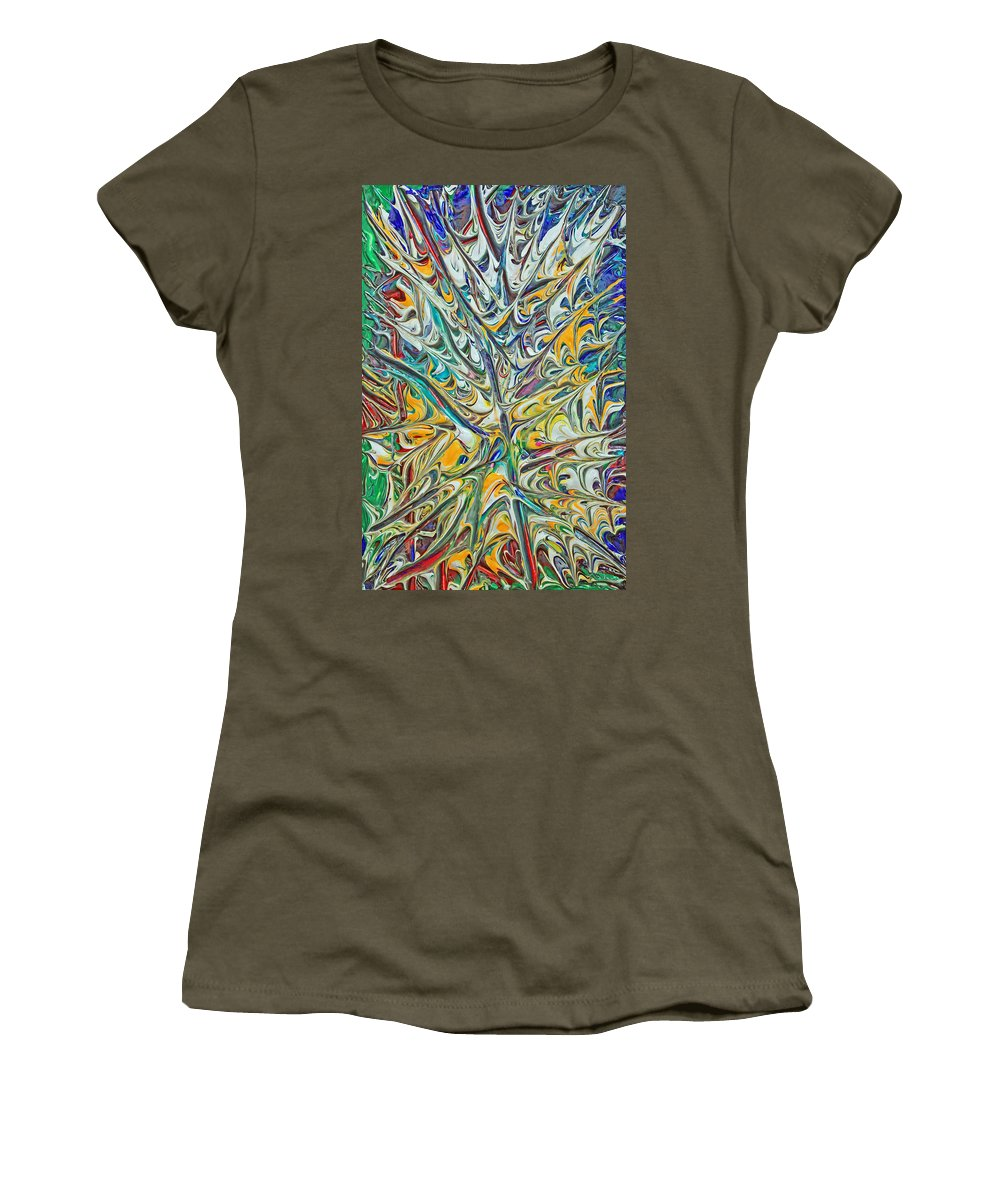 Original Women's T-Shirt featuring the painting Acrylic Fire 2005 by Carl Deaville
