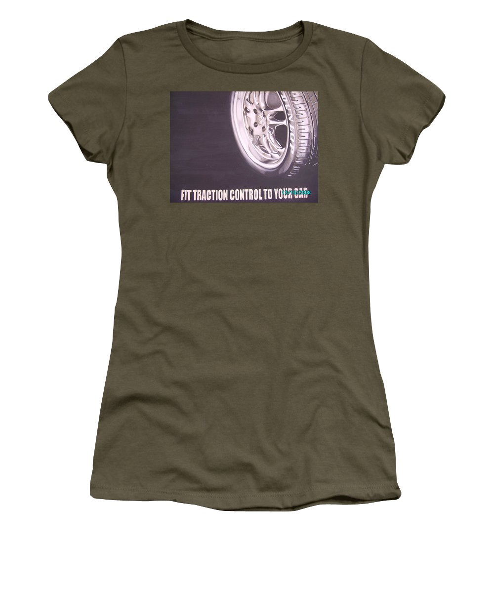 Wheel Women's T-Shirt featuring the digital art Adverts On Tyres by Olaoluwa Smith