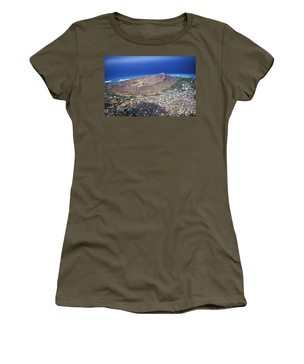 Above Women's T-Shirt featuring the photograph Aerial Of Diamond Head by Peter French - Printscapes