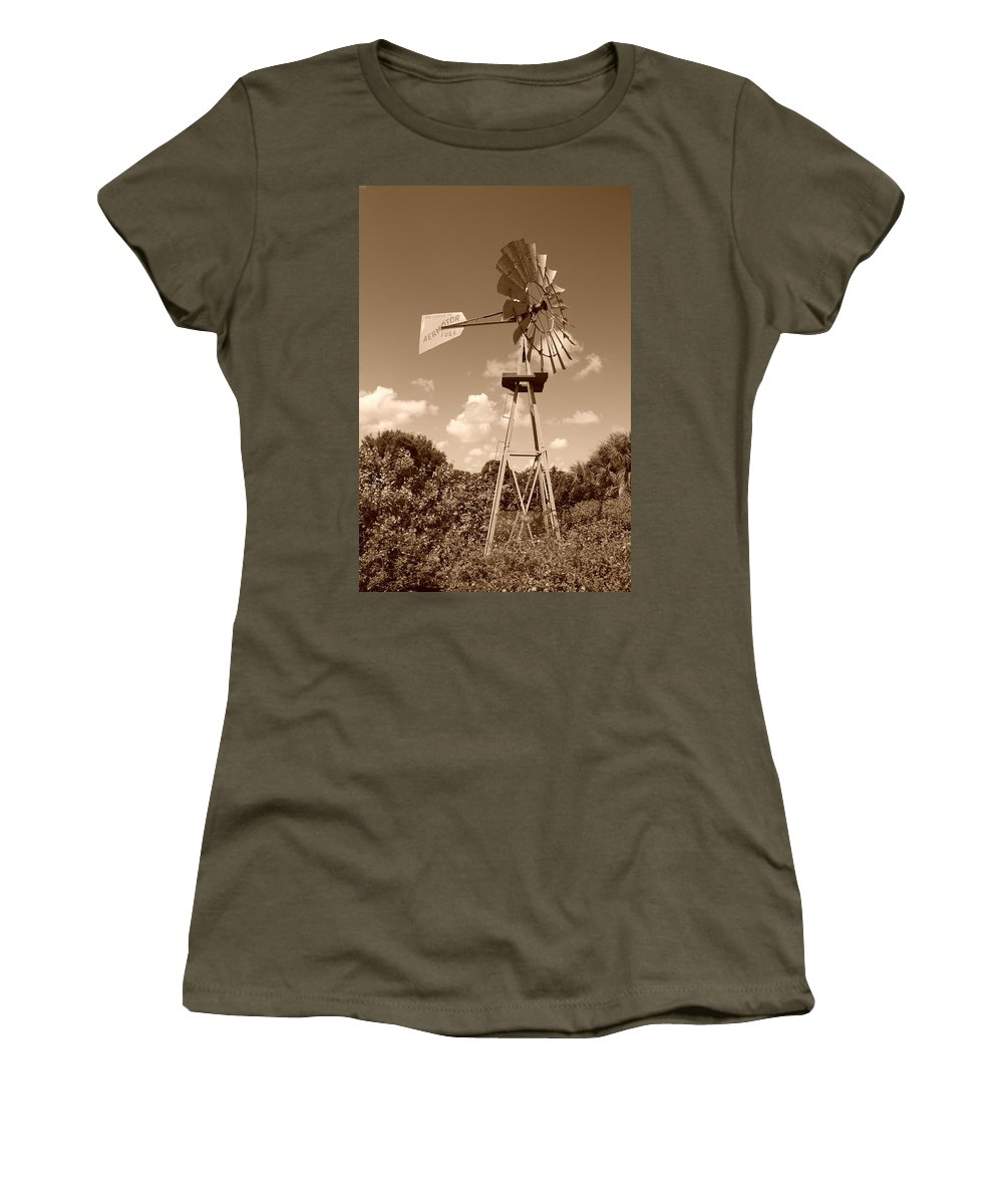 Sepia Women's T-Shirt featuring the photograph Aermotor Windmill by Rob Hans