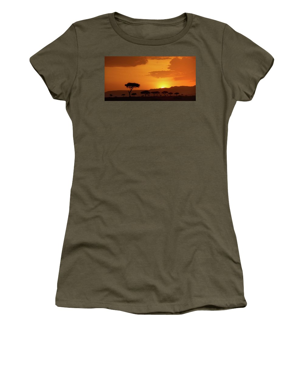 Africa Women's T-Shirt (Athletic Fit) featuring the photograph African Sunrise by Sebastian Musial