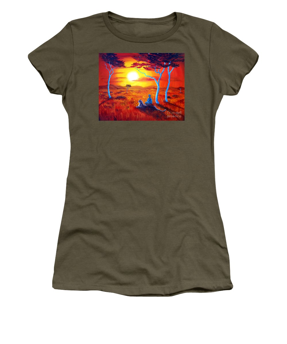 Painting Women's T-Shirt (Athletic Fit) featuring the painting African Sunset Meditation by Laura Iverson