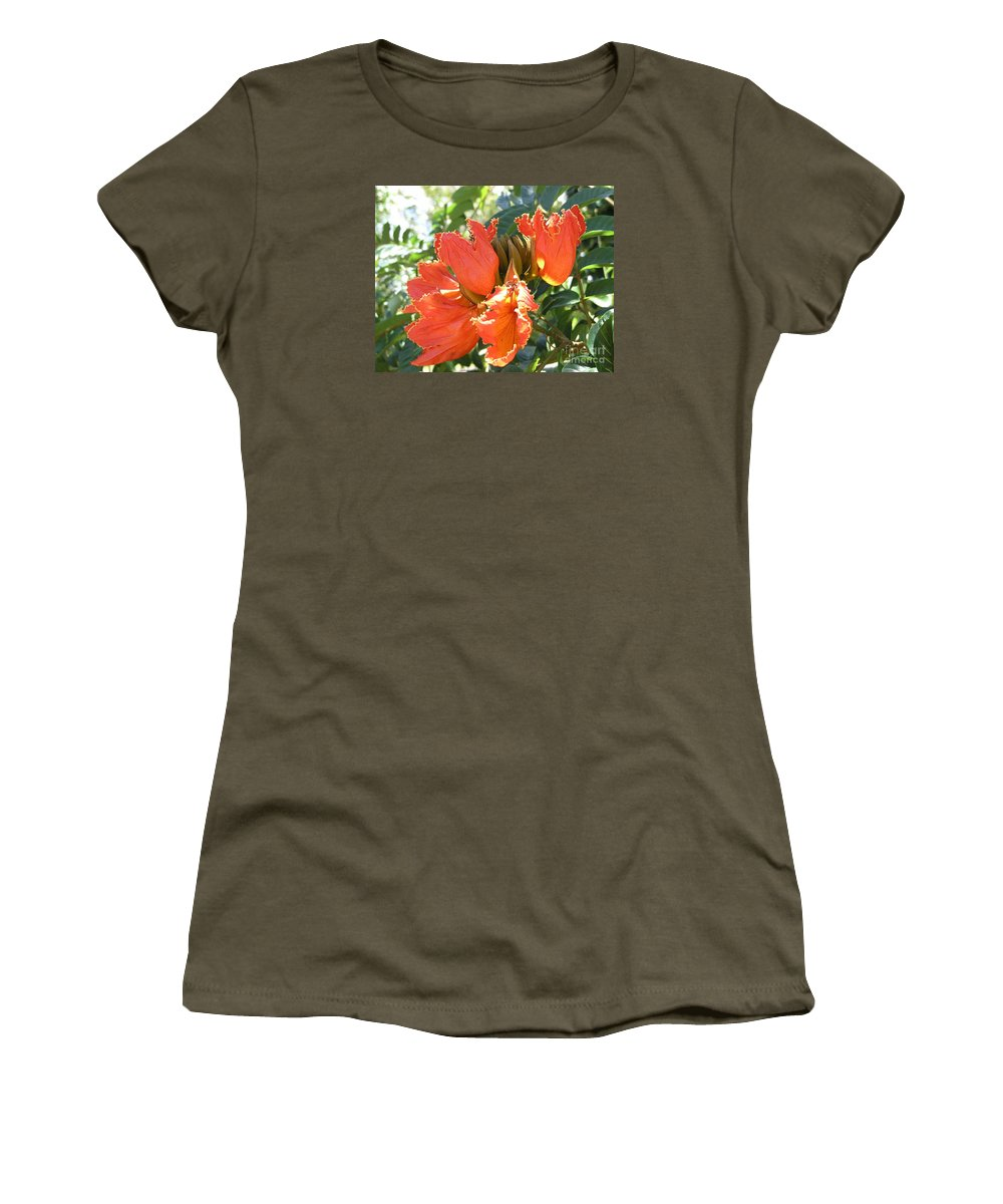 African Tulip Women's T-Shirt (Athletic Fit) featuring the photograph African Tulips by Mary Deal