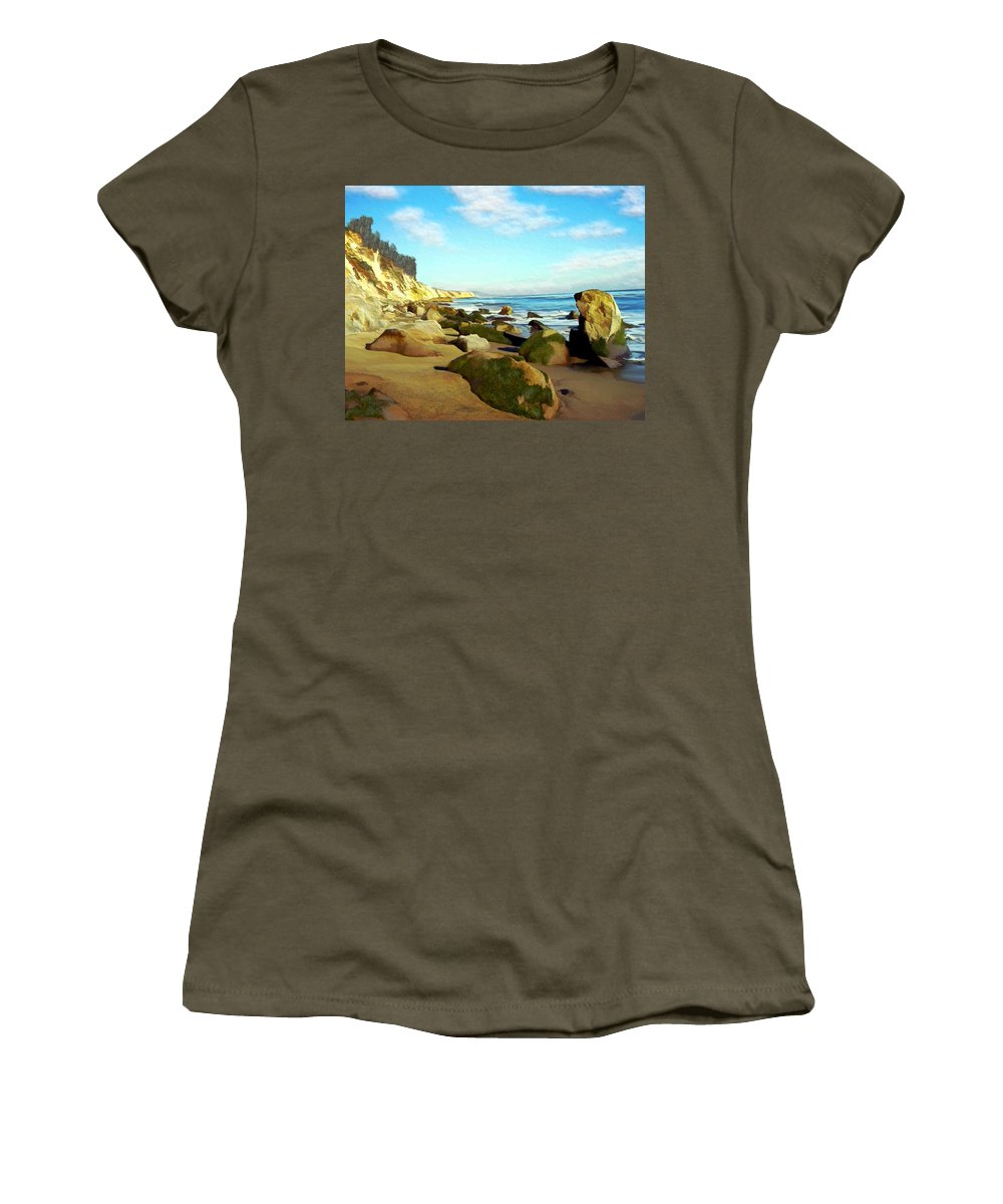 Ocean Women's T-Shirt (Athletic Fit) featuring the photograph After The Fog Gaviota by Kurt Van Wagner