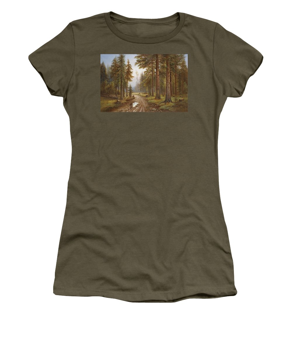 Simeon Fedorovich Fedorov Women's T-Shirt featuring the painting After The Rain by Simeon Fedorovich Fedorov