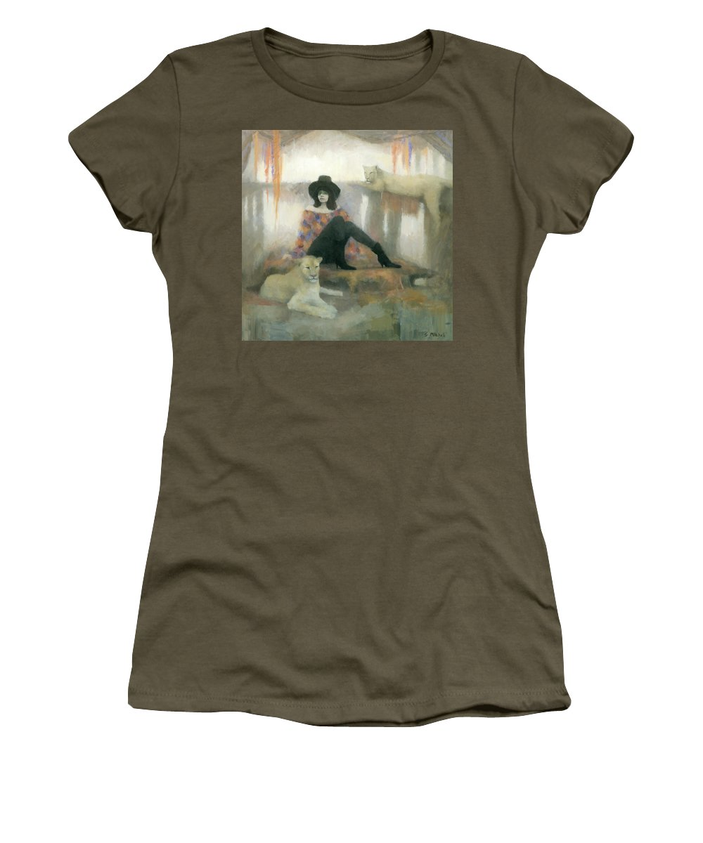 Figurative Women's T-Shirt (Athletic Fit) featuring the painting After The Show by Steve Mitchell