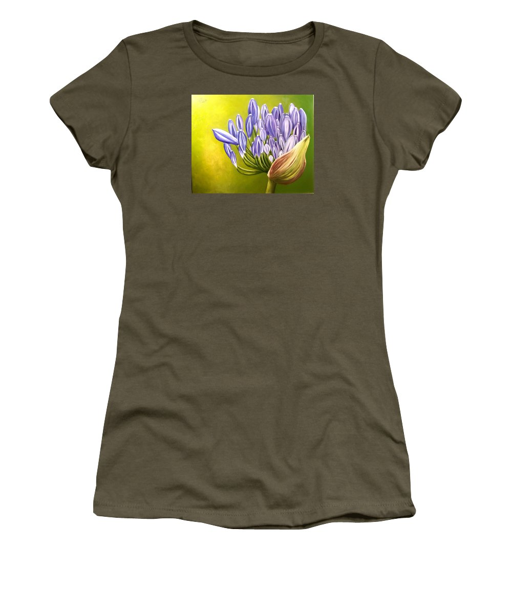 Flower Women's T-Shirt (Athletic Fit) featuring the painting Agapanthos by Natalia Tejera