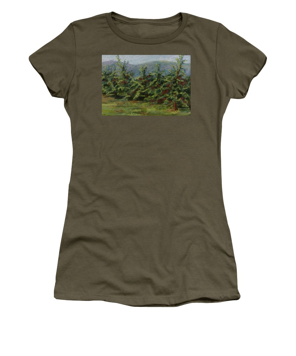 Apple Trees Women's T-Shirt featuring the pastel Ah The Apple Trees by Pat Snook