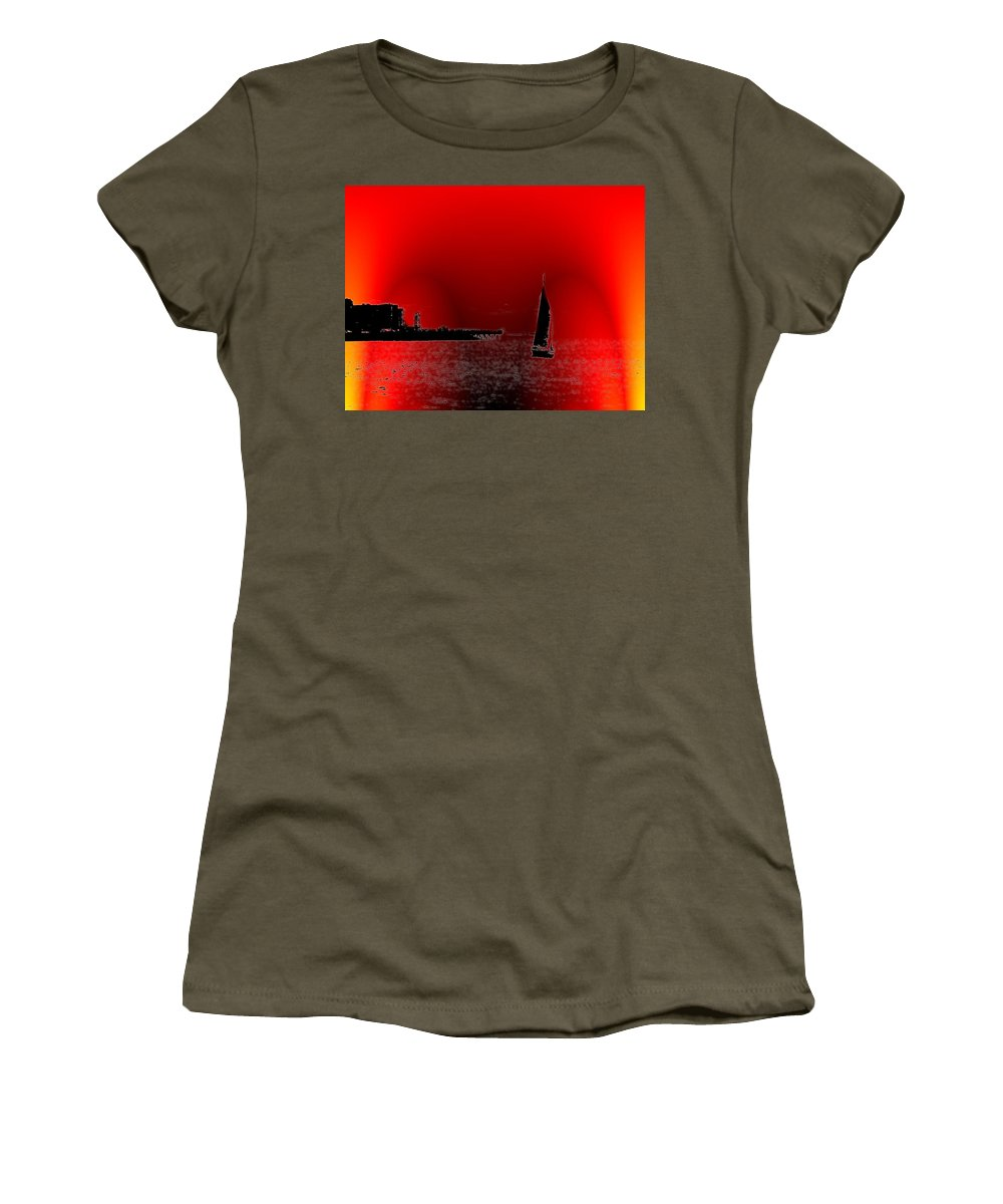 Seattle Women's T-Shirt featuring the photograph Alki Sail 4 by Tim Allen